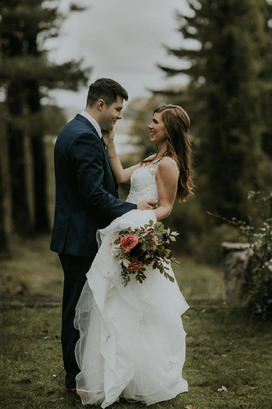 Real Bride Wearing Lace Wedding Gown Called Meryl Lynette by Maggie Sottero