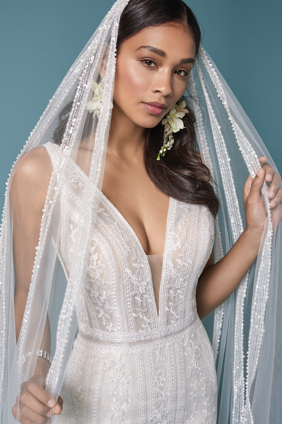 Model Wearing Boho veil Wedding Dress Called Coretta by Maggie Sottero with Matching veil Bridal Veil.